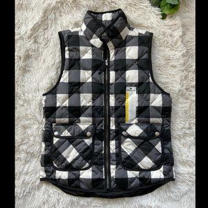 Woolrich Med Duck Down Black white Plaid Vest